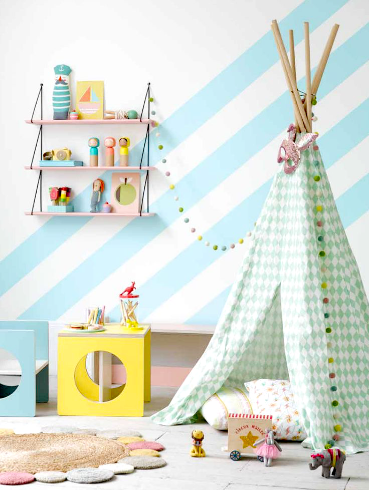 Kids decor ideas gelatto palette teepee