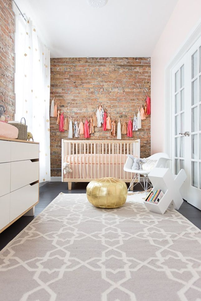 stylish exposed brick wall in nursery