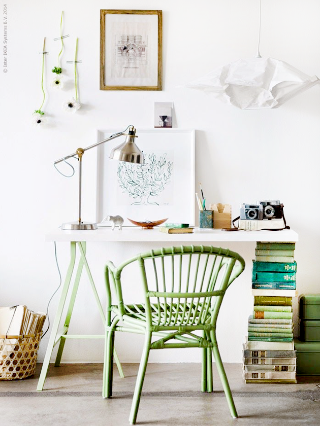 Green desk and bamboo chair