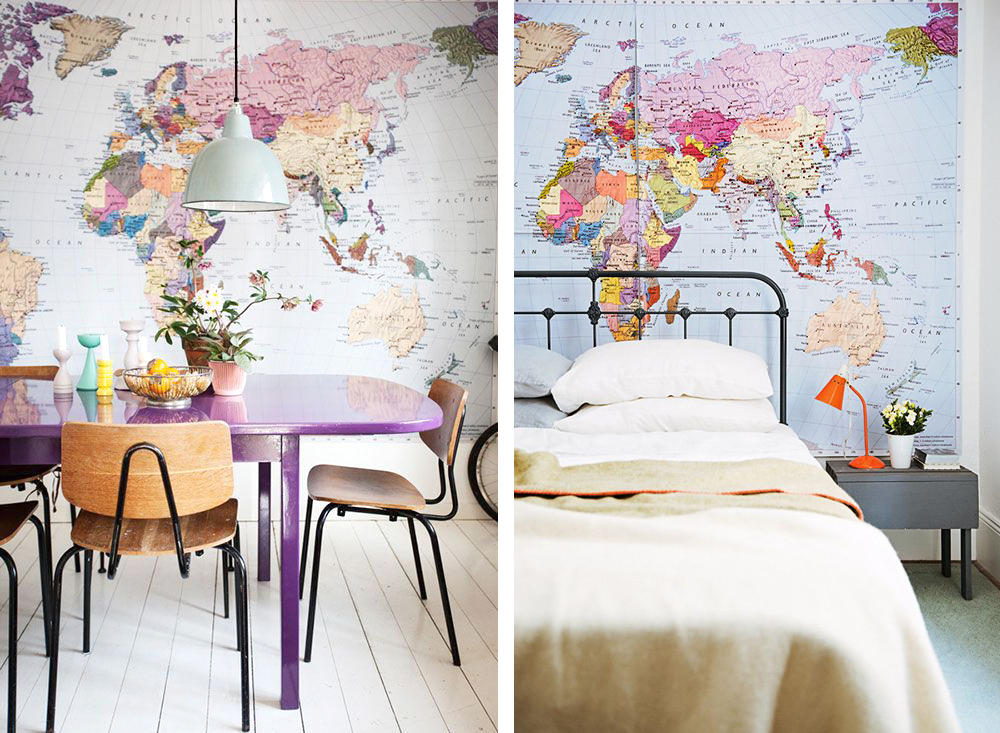 Chicdeco blog decorating with world map wallpapers world map wallpaper dining room gumiabroncs Image collections