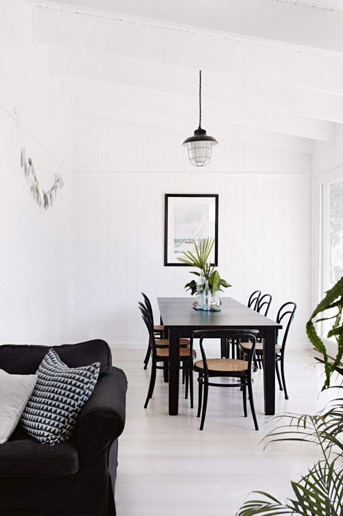 Black white dining rafters