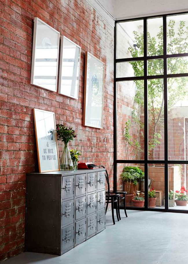 industrial drawer and open brick wall