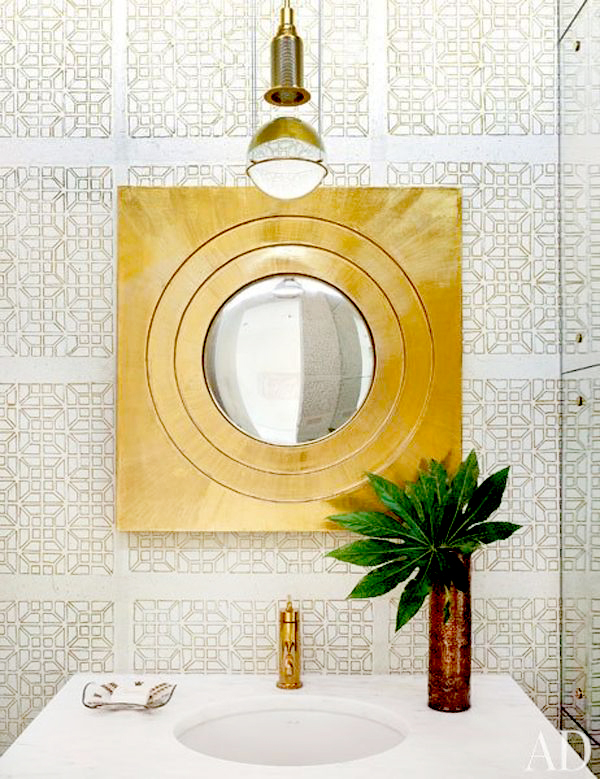 Golden mirror pendant fixtures faucets in bathroom