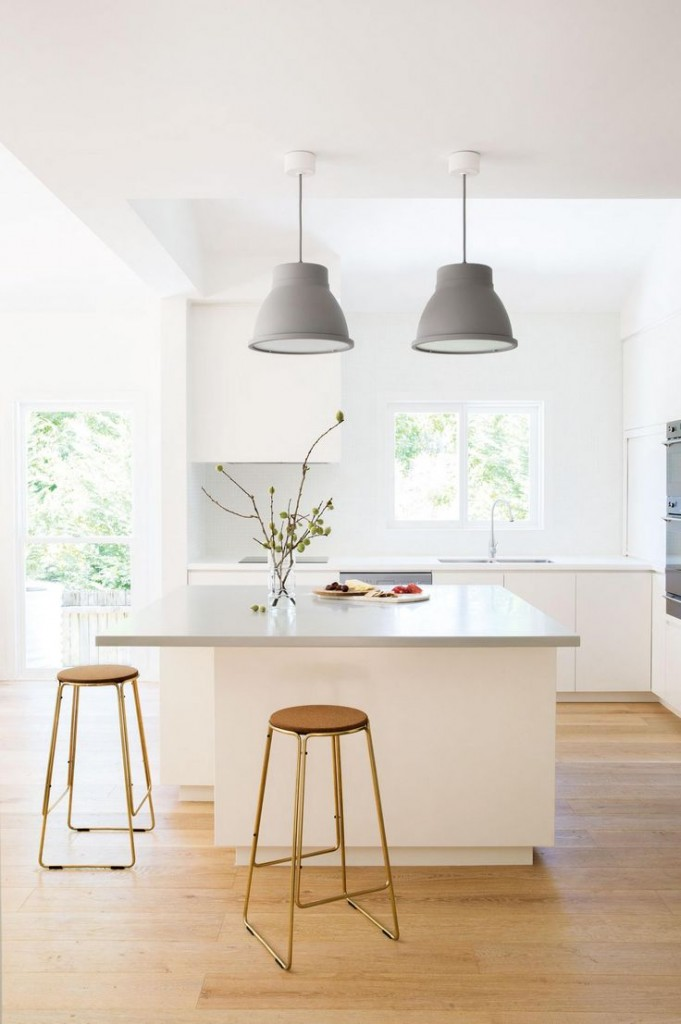 Two pendant lights over a small kitchen benchtop image from the september 2015 issue of inside out magazine styling by rebecca jansma suzanne gorman