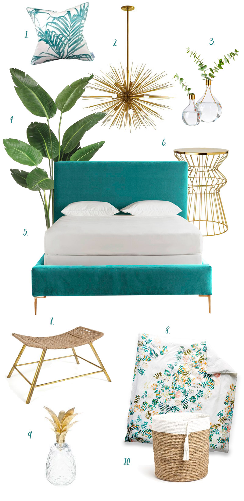 Turquoise-and-brass-bedroom
