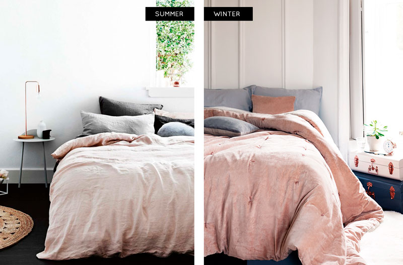 Pink and grey winter and summer bed linen