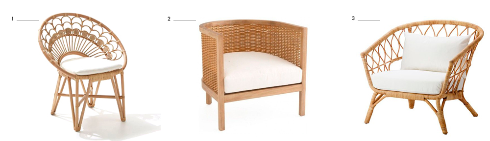 Rattan-and-cane-armchairs