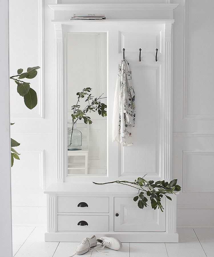 French panelled hall stand with bench and mirror